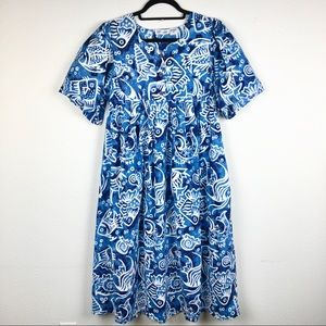 VINTAGE Fundamentals Fish Print MuMu House Dress W